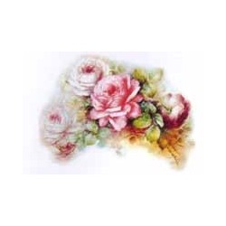 SPRAY OF WHITE AND PINK ROSES 150mm