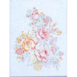 ** SALE 50% OFF FLORAL SCENE MOTIF PEACH/CHAMP 18X14CM