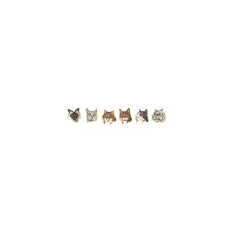 CATS HEADS SET OF 6 (6/6)
